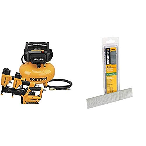 BOSTITCH Air Compressor Combo Kit, 3-Tool (BTFP3KIT) & 18 Gauge Brad Nails, 1-3/8-Inch, 1000 per Box (BT1335B-1M)