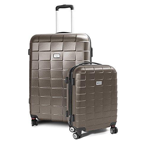 BERWIN Kofferset M + XL 2-teilig Reisekoffer Trolley Hartschalenkoffer ABS Teleskopgriff Modell Squares (Braun)