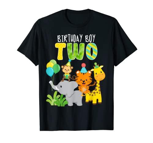 Zoológico Safari animales de la selva segundo cumpleaños 2 años de edad Camiseta