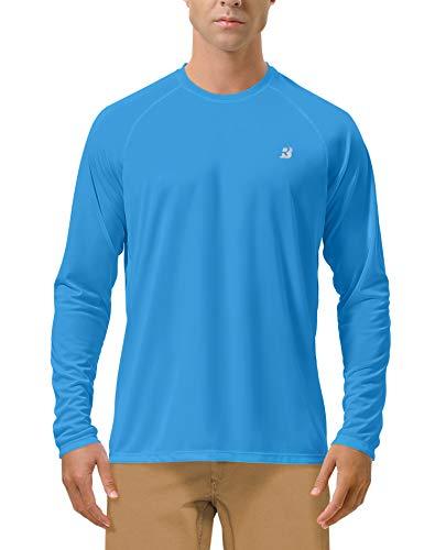 Roadbox Men's Sun Protection UPF 50+ UV Outdoor Long Sleeve Dri-fit T-Shirt Rashguard Shirts for Running, Fishing, Hiking (Campanula Blue, X-Large)