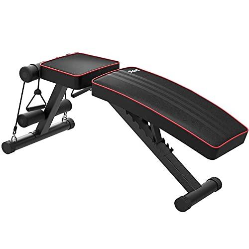 JIAX Banco ajustable para sentarse, banco inclinado para entrenamiento abdominal, banco de peso plegable con cuerda de ejercicio para el hogar, gimnasio y entrenamiento inclinado