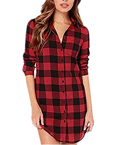 StyleDome Women Buffalo Check Plaid Long Sleeve Collar Neck Casual Button Down Tops Shirts Long Blouses Black Red 4