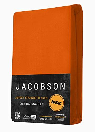Jacobson Jersey Spannbettlaken Spannbetttuch Baumwolle Bettlaken (60×120-70×140 cm, Orange) - 2