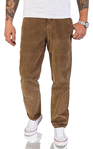 Rock Creek Herren Cord Hose Regular Fit Chino Hose Klassische Hosen Herrenhose Straight Cut Chinos Herren Cordhosen RC-2156 Dunkelbeige W34 L32