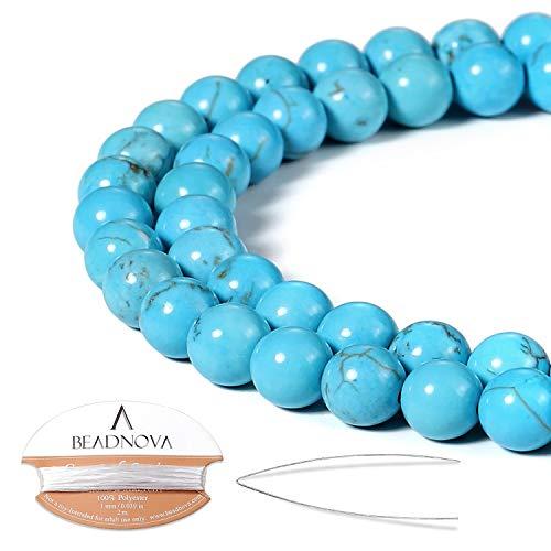 BEADNOVA 8mm Blue Turquoise Gemstone Round Loose Beads for Jewelry Making (45-48pcs)