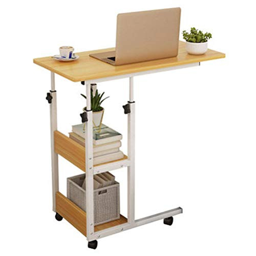 N \ A Home Office Desk Mobile Computer Desk, Height Adjustable Writing Study Table Wooden Side Table with 3-Tier Storage, for Home, Office and Workstation