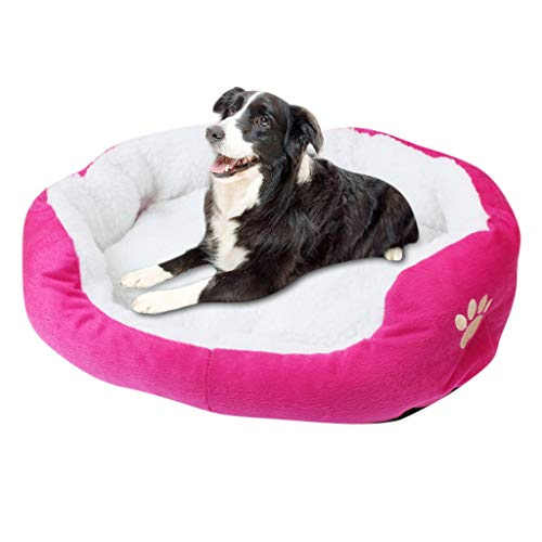 ErYao Warm Dog Bed Kennel, Cozy Puppy Pet Cushion Bed for Warmth and Security - Offers Head, Neck and Joint Support - Machine Washable, Water-Resistant Bottom,23.62 x 19.68inch (Hot Pink)