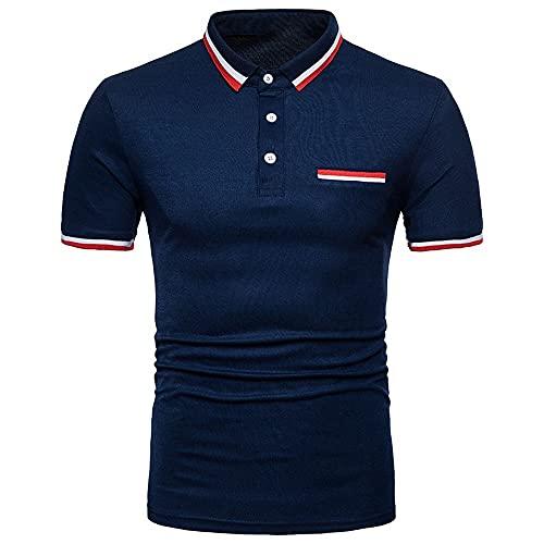 Camiseta de manga corta para hombre de verano slim sin capucha solapa camisa de los hombres impresa botón cuello redondo camiseta de los hombres