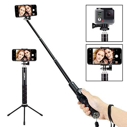 Foneso, Selfie Stick Bluetooth, con treppiede per Smartphone e Fotocamera, Nero