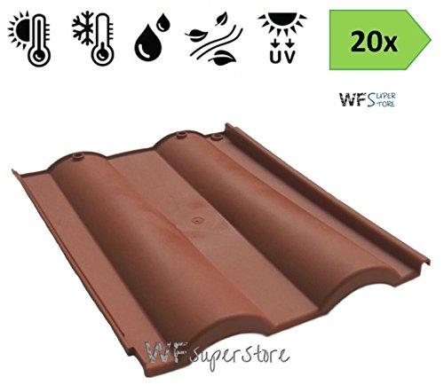 Tegola Doppia Romana in plastica color cotto - 20 pezzi - tegole tetto coppo terracotta (Comprese viti di fissaggio)