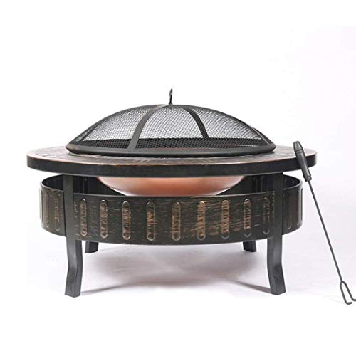 HIZLJJ Outdoor Metal Firepit Round Table Backyard Patio Garden Stove Wood Burning Fire Pit with Spark Screen, Log Poker and Cover