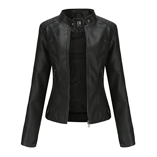 Damen PU Lederjacke Leather Jacket Bikerjacke mit Reißverschluss Frauen Kurz Jacke aus Kunstleder Jacke Motorrad Jacke Kurze Jacke für Herbst Frühling H3,Black,L
