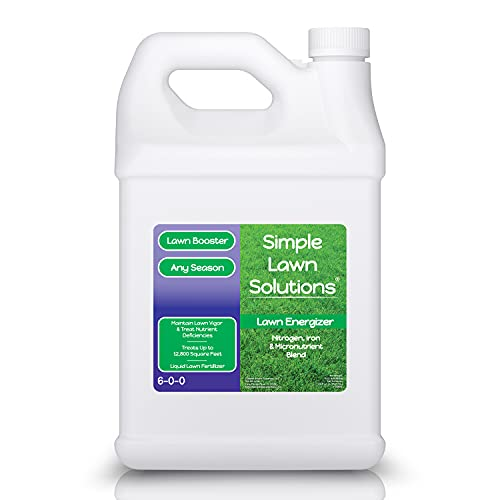 Commercial Gallon Lawn Energizer Nutrients - Grass Micronutrient Booster with Nitrogen, Iron - Quality Liquid Turf Spray Concentrated Fertilizer- Any Grass Type - Simple Lawn Solutions (1 Gallon)