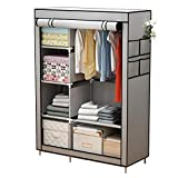 YAYI Canvas Wardrobe Portable Wardrobe Clothes Storage with 6 Shelves and Hanging Rail,Grey