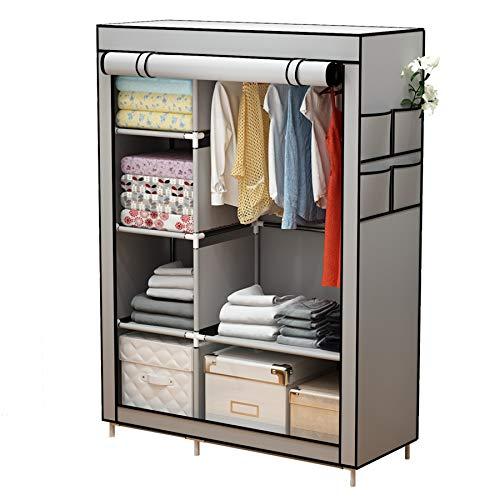 YAYI Leinwand Kleiderschrank Tragbare Kleiderschrank Aufbewahrung mit 6 Regalen und Kleiderstange,Grau