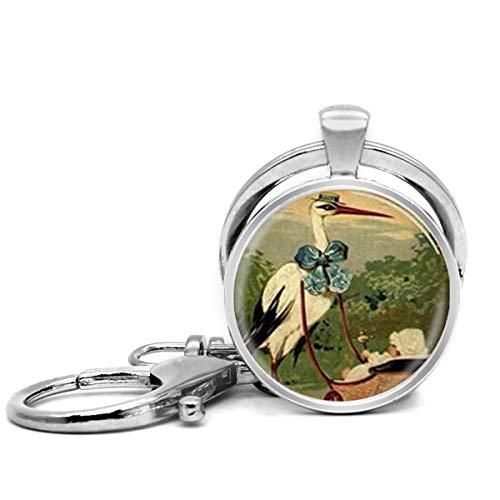 Llavero de acero inoxidable con llavero, ligero y decorativo, ideal como regalo para hombres y mujeres, cigüeña y carruaje de bebé