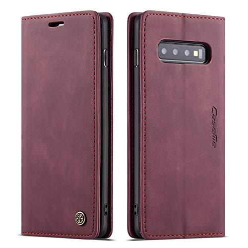 Étui portefeuille en cuir vintage pour Samsung S Samsung Galaxy S10 Plus marron
