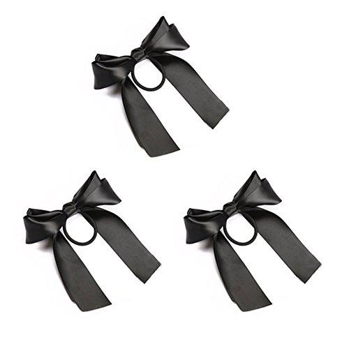 3 Packs Élégant Tissu Cheveux Accessoires Boutique Arc Élastique Cheveux Ties Porte-Queue de Cheval pour l'école Cheerleading Noir