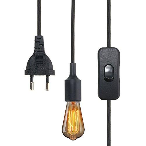 KINGSO E27 Lampenfassung Edison Lampenhalter Silikon Fassung mit Schalter/Stecker/ 3M farbigem Textilkabel/VDE-Zertifikat Schwarz