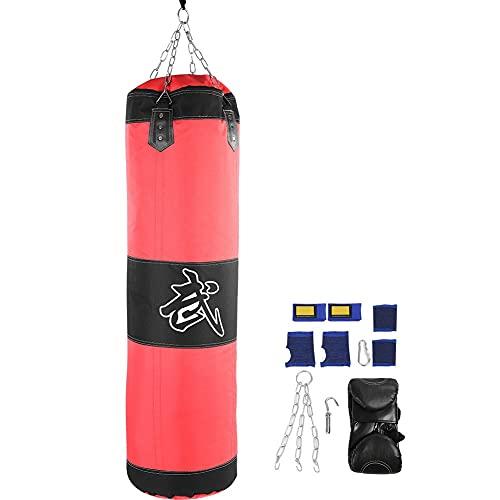 Fsskgxx Schwerer Boxsack, Hohle Kette Taekwondo Karate Training Fitness Leerer Sandsack (Rot-1m)