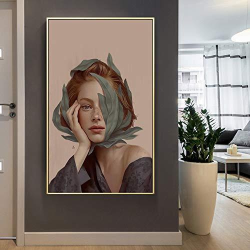 FXBSZ Moderna hermosa figura de niña decoración imagen pintura mural en la pared lienzo sala de estar decoración del hogar pintura sin marco 50x70 cm sin marco
