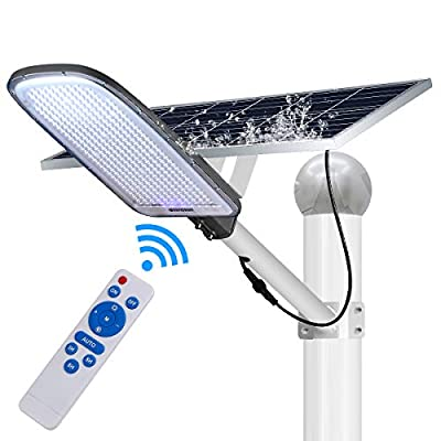 Saanpaan 300W LED Solar Street Lights, Outdoor Dusk to Dawn Pole Light with Remote Control, Security Led Flood Light for Parking Lot, Yard, Garage,Basketball Court