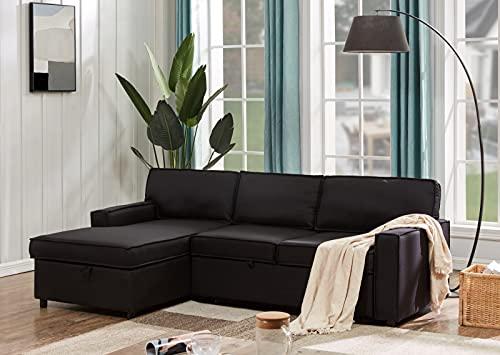 Moiitee Sofá reversible seccional con cama extraíble y con almacenamiento, sofá cama de 3 plazas, sofá cama tapizado moderno para sala de estar, muebles del hogar