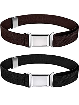 Kids Magnetic Belt Adjustable Elastic Belt with Magnetic Buckle for Boys Daily Use Girls (Color Set 3, 2)