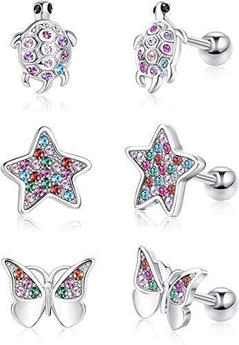 Milacolato 3 paia di orecchini a forma di farfalla carina per donna Orecchini in argento sterling con strass a forma di tartaruga Orecchini con stelle ipoallergeniche