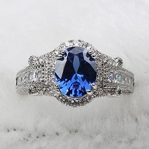 Encantos Anillo de Zafiro Ovalado para Mujer Plata 925 Joyas Piedras Preciosas Diseño Vintage Femenino 8 Azul