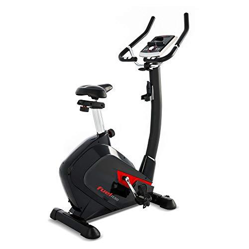 Fuel Fitness Ergometer FE300, 9kg Schwungrad, Watt-Steuerung, flüsterleiser Riemenantrieb, bis 150kg, Polar Pulsgurt inkl, Fitness-Bike für zuhause, Video-Training & Mehrspielermodus mit Kinomap App