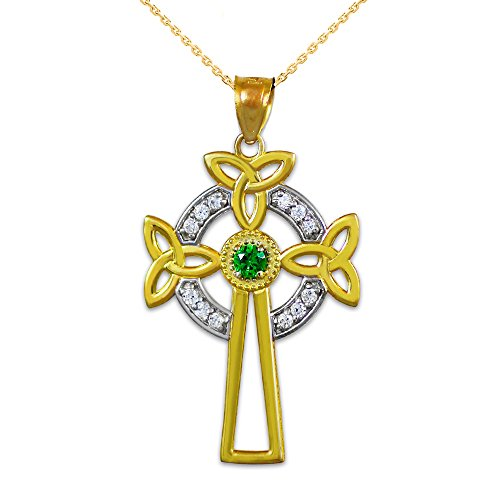 14K Two-Tone Gold Celtic Cross Trinity Knot Diamond Pendant Necklace with Emerald, 20'