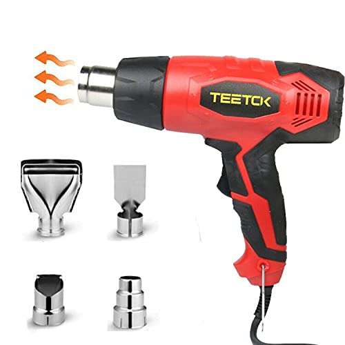 TEETOK 2000W Heat Gun, Hot Air Gun 300℃- 600℃ Variable Temperature with 2 Adjustable Temperature Modes, Heavy Duty Hot Air Gun Kit with 4 Nozzles for Shrinking PVC,Stripping Paint, Crafts