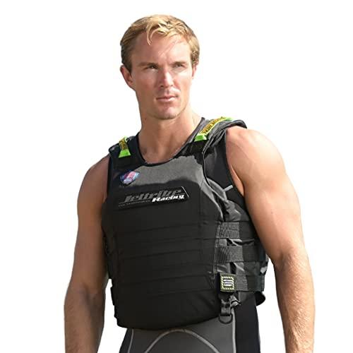 Jettribe US Coast Guard Life Vest   Black Out   Type 3 PFD   Side-Entry Jet Ski Vest (Large X-Large)