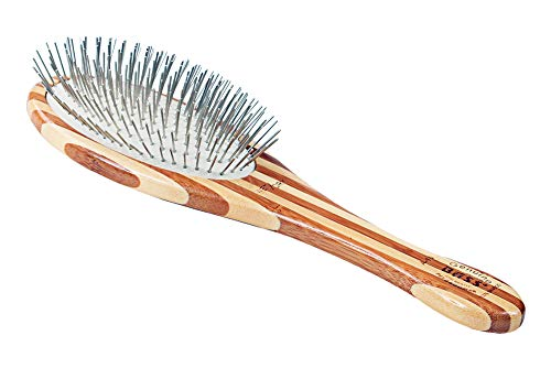 Bass Brushes | Style & Detangle Pet Brush Alloy Pin | Pure Bamboo Handle | Large Oval | Striped Finish | Model A10-SB