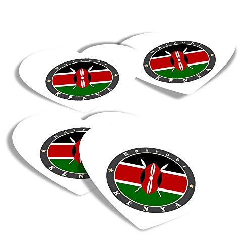 Vinyl Heart Stickers (Set of 4) - Kenya East Africa Nairobi Flag Travel Fun Decals for Laptops,Tablets,Luggage,Scrap Booking,Fridges #5186