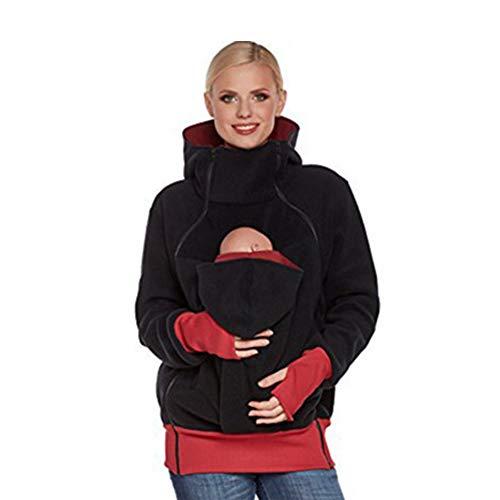 Portabebés Chaqueta 2 en 1 Fleece Zip Up Kangaroo Mom Turtleneck, Child Maternity Kangaroo Fleece Coat Para Embarazadas Baby Wearing Baby Holder Pullover Multifuncional Desmontable
