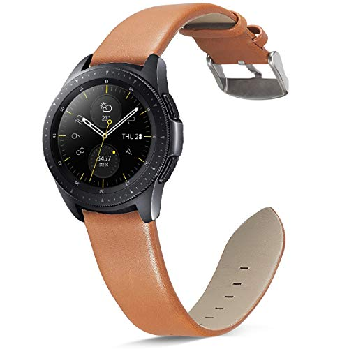 Olytop Compatible Galaxy Watch 42mm Band & Garmin Vivoactive 3 Bands, 20mm Ticwatch E Leather Wrist band Replacement Accessory for Samsung Galaxy Watch 42mm SM-R810/SM-R815 Women Men Smartwatch -Brown