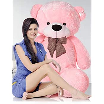 NP Toys Very Soft Fluffy/SpongyHuggable Cute Teddy Bear with Neck Bow for Girlfriend/Birthday Gift/Boy/Girl/Valentine/Anniversary (Pink, 3 Feet)