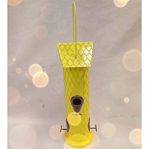 Ifukens バードフィーダー 野鳥 小鳥 鳥の餌箱 吊り下げ おしゃれ 黄色 金属 スタンド ハンギングフック付き 4つの給餌ポート インコ 文鳥 給餌器 餌入れ 自動給餌器 野鳥観察 餌台 餌場 えさ台 鳥用品 ペット用品 Bird Feeder