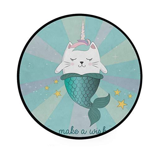 Mr.XZY Bonita alfombra redonda para niños, diseño de unicornio y gato, sirena, estrella del océano, suave, antideslizante, alfombra circular para sala de estar o dormitorio, 92 cm 2010081