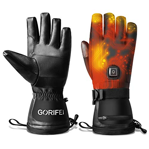 GORIFEI Heated Glove, Rechargeable Electric Battery Heated Gloves, 3 Heating Levels, up to 8hrs Warmth, Touchscreen Ski Glove, Waterproof Breathable Winter Gloves(Large)