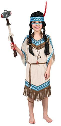 Karneval-Klamotten Indianer Kostüm Kinder Mädchen Indianerin Kostüm Mädchen-Kostüm Squaw Pocahontas beige blau Karneval