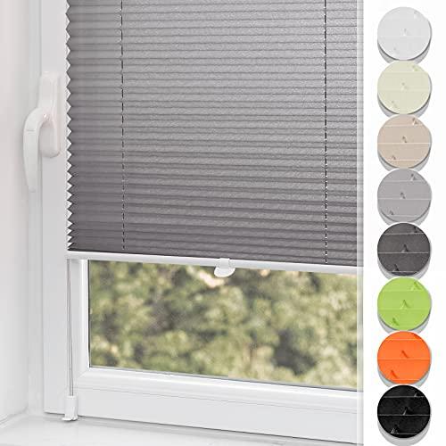 Plisseerollo ohne Bohren klemmfix Jalousie Sonnenschutz Easyfix Faltrollo Lichtdurchlässig Rollo für Fenster & Tür Anthrazit 35x100cm(BXH)