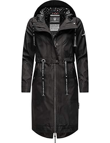 Navahoo Damen Parka leicht Übergangs-Jacke mit Kapuze Josinaa Black Gr. 3XL