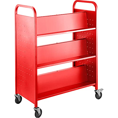 BestEquip Book Cart, 200LBS Library Cart, 30x14x45 Inch Rolling Book Cart, Double Sided W-Shaped...