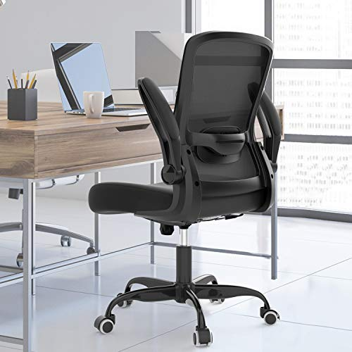 2021 Newest Ergonomic Office Chair, Home Office Chair with Adjustable Lumbar Support, Desk Chair with Thickened Cushion, Computer Chair with Flip-up Armrests and Mesh Backrest, Black