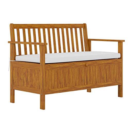 Outsunny Gartenbank aus Holz, 2-Sitzer, Stauraum, Terrasse, Sitzgelegenheit mit gepolstertem Sitzkissen