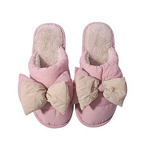 Slippers Comodos,Zapatillas de algodón de Tela de Tela de Lluvia de Invierno más de Invierno-Cereza_40-41,Pantuflas Suave Algodón