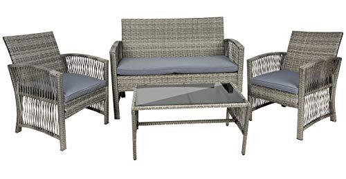 MT MALATEC Polyrattan Gartenmöbel Sitzgruppe Sofa Garnitur Gartenmöbel Gartenset Tisch 11961, Farbe:Grau